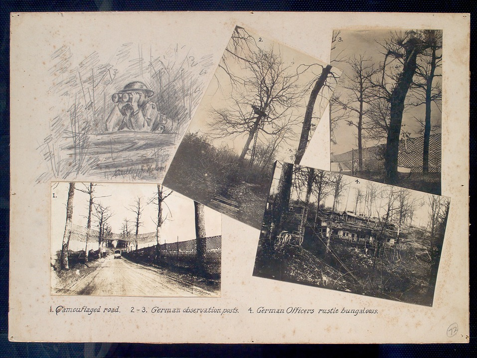 Camouflaged, Road, Observation Posts, German, Bungalows