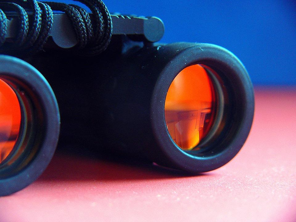 Binoculars, See Sharp, View, Watch, Observer, Blond