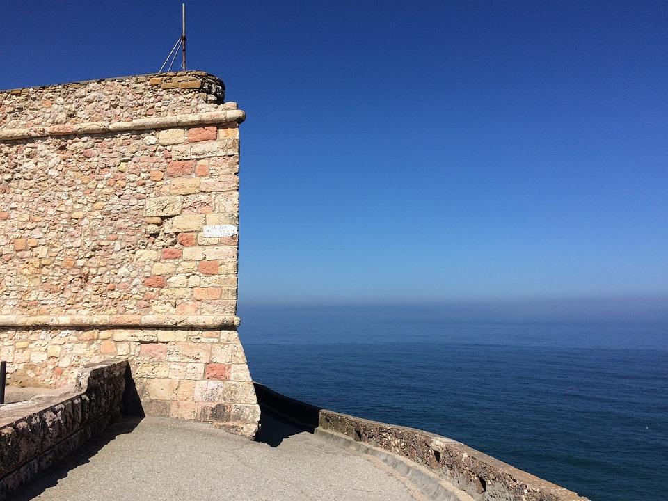 Castle, Wall, Sea, Ocean, Nazare, Portugal, Atlantic