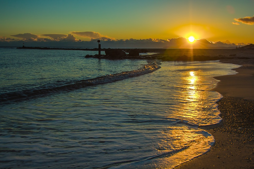 Beach, In The Evening, Sunset, England, Ocean, Seascape