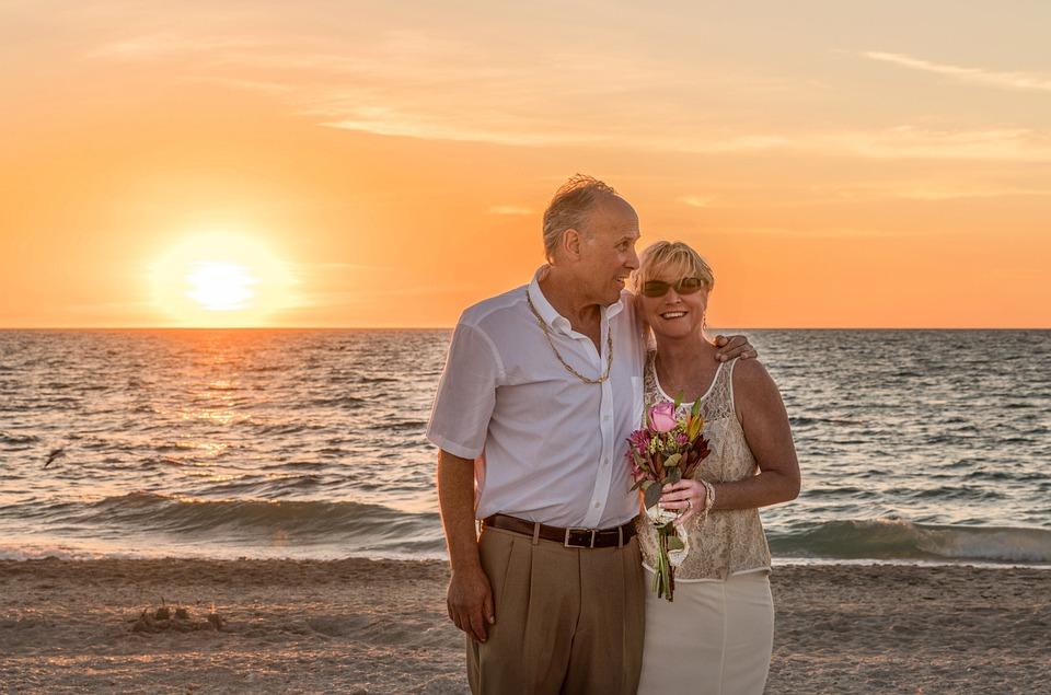 Beach Wedding Hy Sunset Ocean