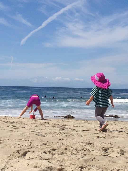 Beach, Girls, Sand, Sky, Young, Ocean, Water, People