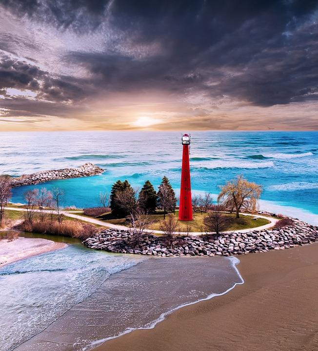 Lighthouse, Island, Ocean, Beacon, Watchtower, Waves
