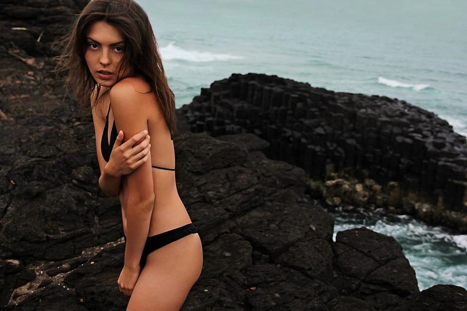 Beach, Beautiful, Bikini, Model, Ocean, Rocks, Sea