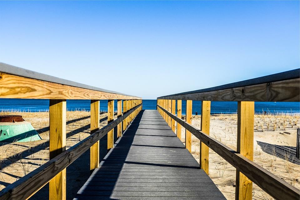 Wood, Bridge, Path, Walkway, Beach, Sand, Ocean, Sea