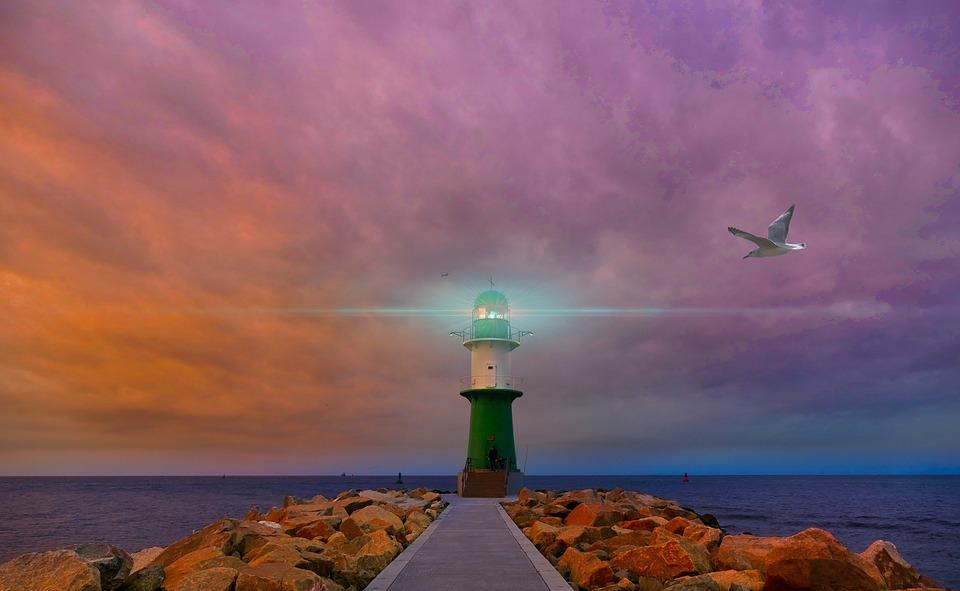 Lighthouse, Sea, Ocean, Water, Sky, Wave, Clouds, Coast