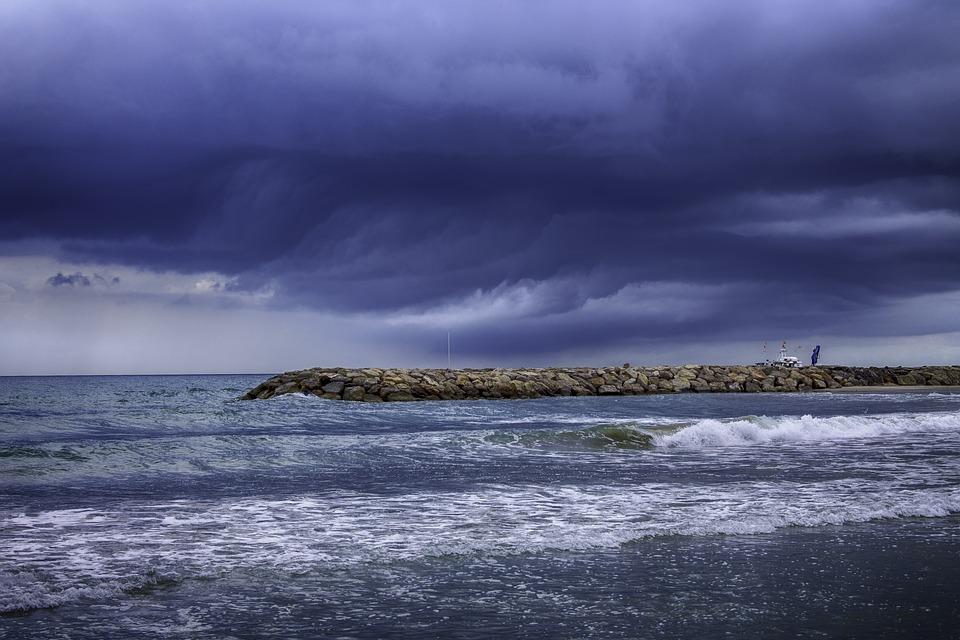 Storm, Sea, Beach, Waves, Ocean, Clouds, Marina
