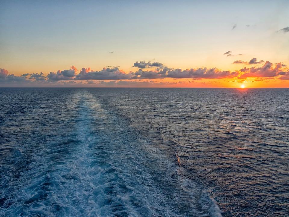 Sunset, Cruise, Ocean, Clouds, Ship, Wake, Wave
