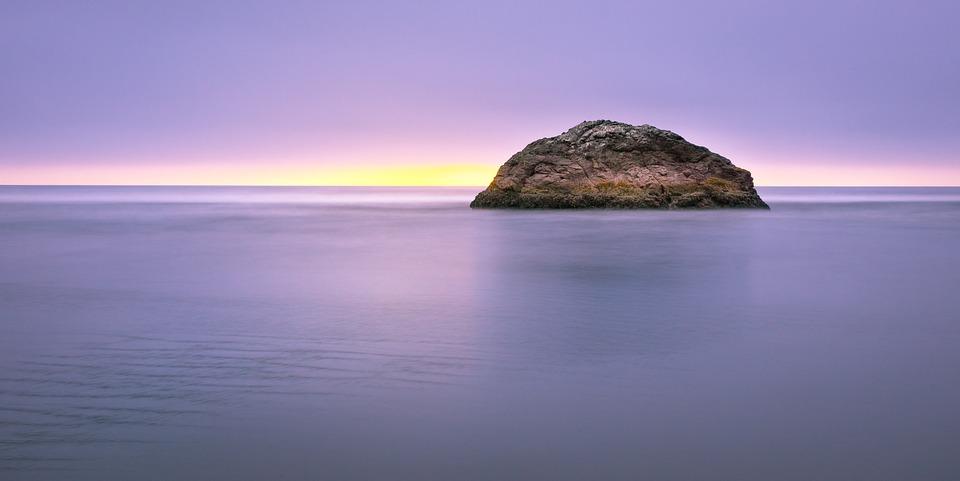 Island, Dawn, Dusk, Light, Ocean, Rock, Scenic, Sea