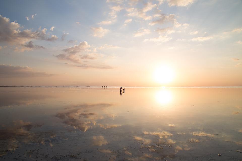 Beach, Clouds, Dawn, Dusk, Nature, Ocean, Reflection