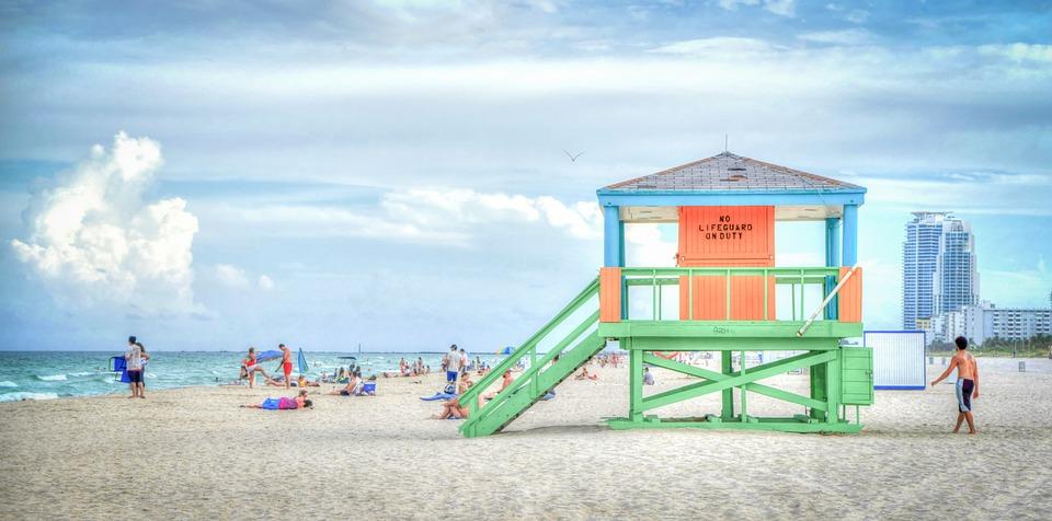 South Beach, Florida, Lifeguard Stand, Ocean, Vacation