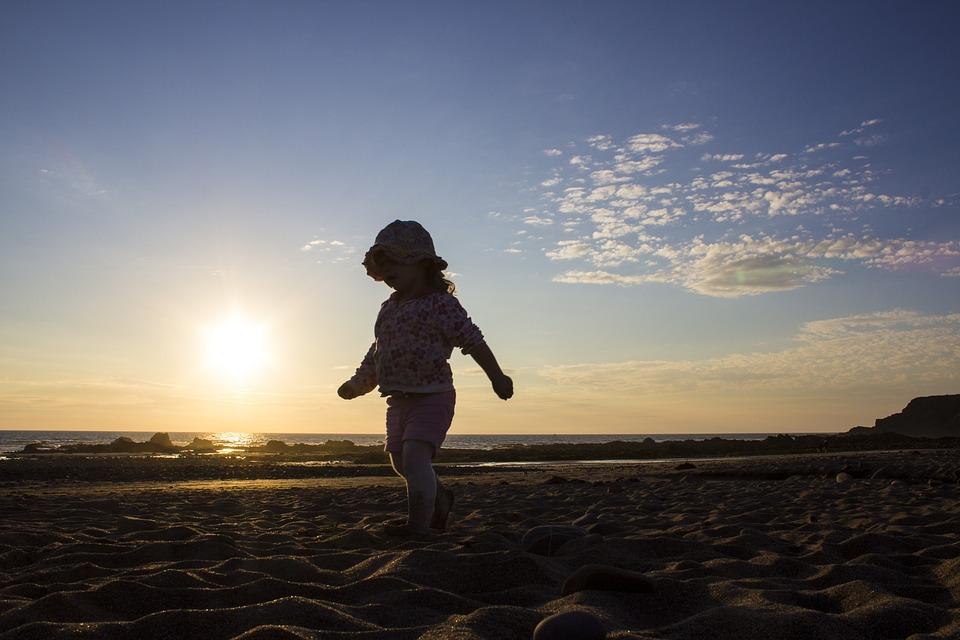 Sunset, Beach, Girl, Child, Ocean, Sea, Vacation, Sky