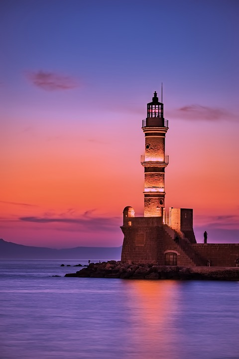 Greece, Lighthouse, Jetty, Quay, Sea, Ocean, Reflection