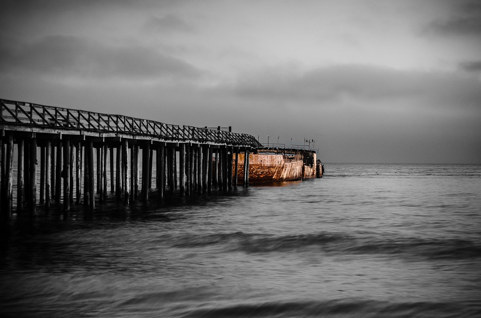 Aptos, Pier, Cement, Grey Day, Ocean, Sea
