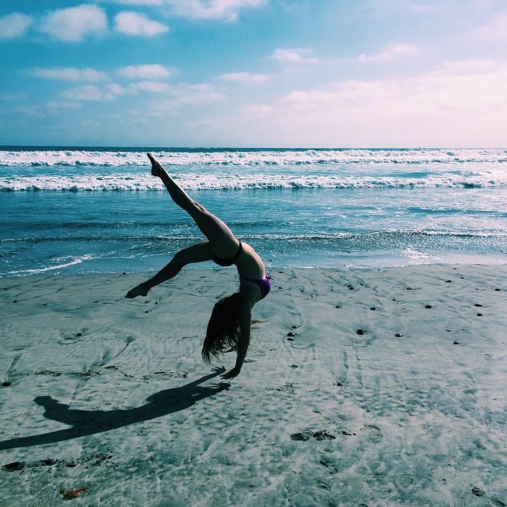 Gymnastics, Beach, Ocean, Sport, Female, Sand, Health