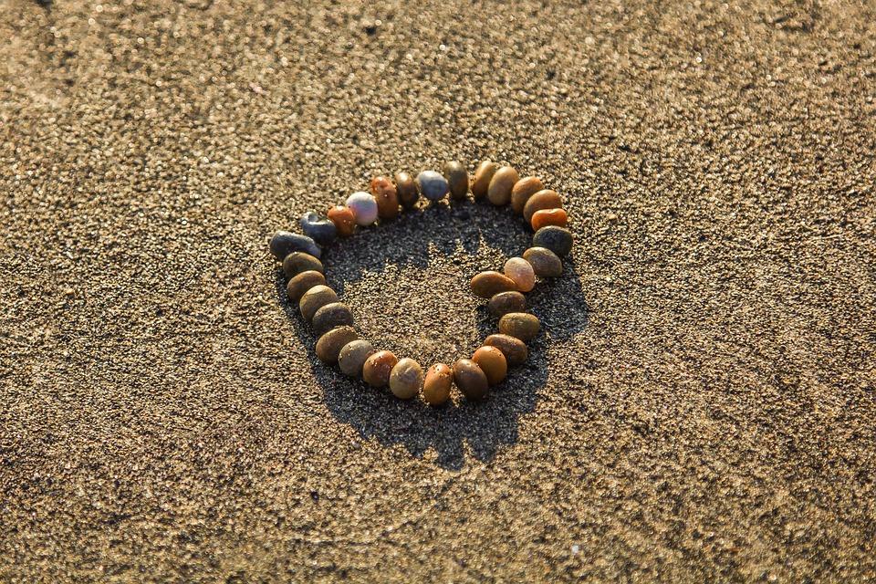 Heart, Rhinestones, Sand, Beach, Ocean