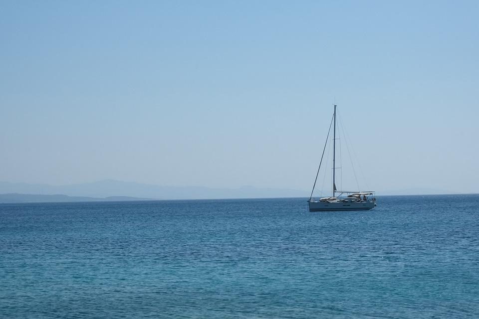 Boat, Sailboat, Sail, Ocean, Horizon, Marine, Sailing