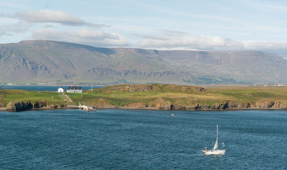 Sailboat, Mountains, Ocean, Water, Iceland, Coastline