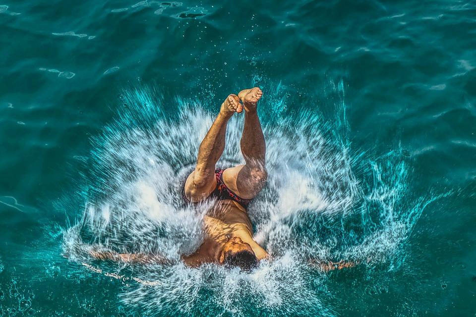Man, Jump, Splash, Swimmer, Fun, Sea, Water, Ocean