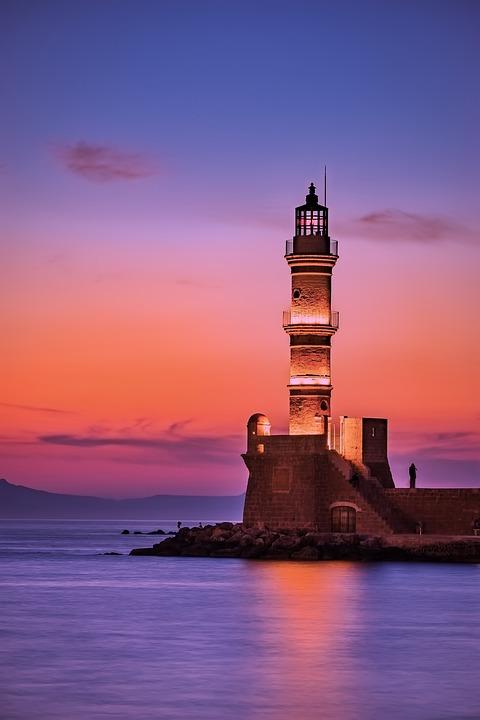 Greece, Lighthouse, Sea, Ocean, Sunrise, Sunset
