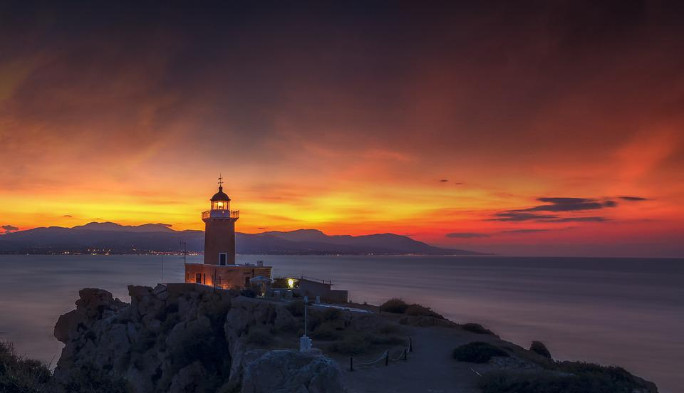 Lighthouse, Sunset, Lights, Sky, Sea, Ocean, Water