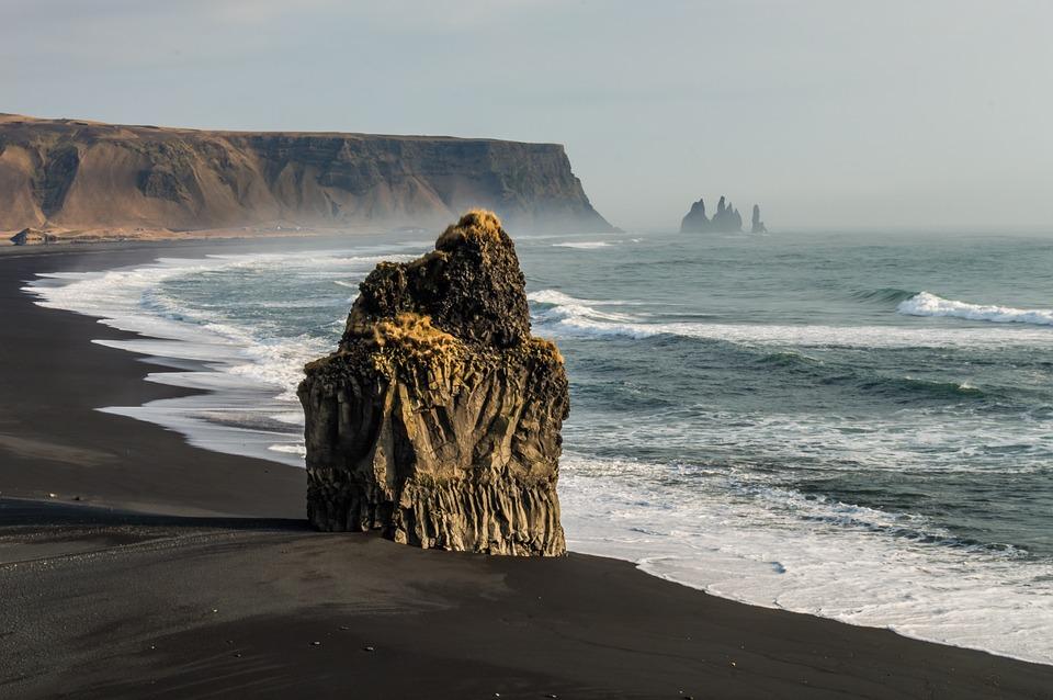Beach, Cliff, Rock, Mist, Fog, Sea, Ocean