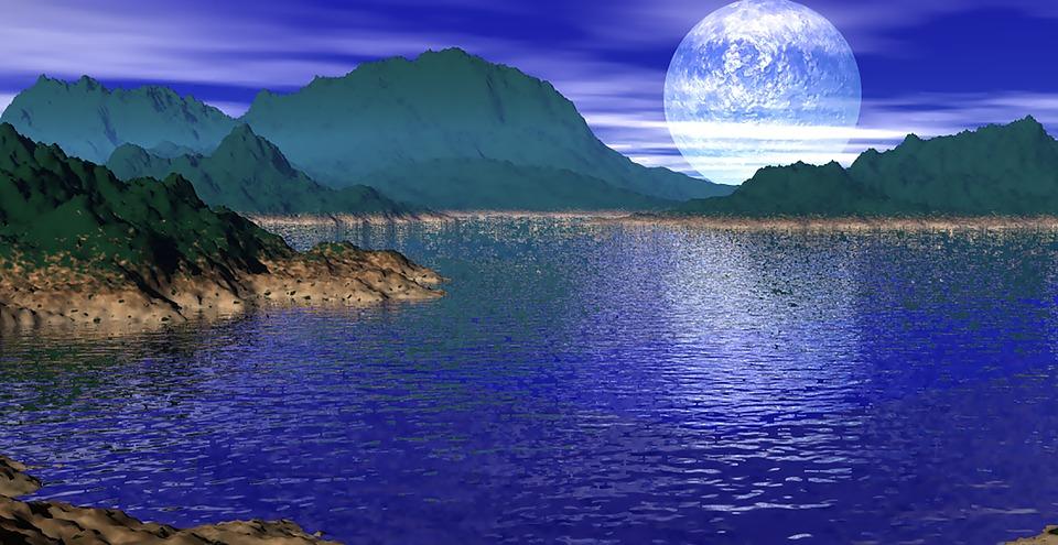 Ocean, Moonlight, Island, Mountains
