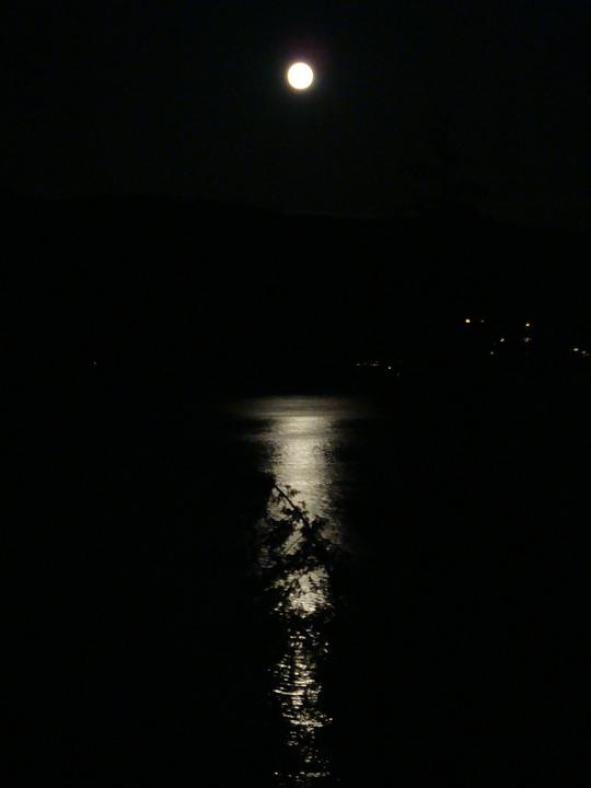 Moon, Reflection, Ocean, Night, Calm, Dark, Midnight