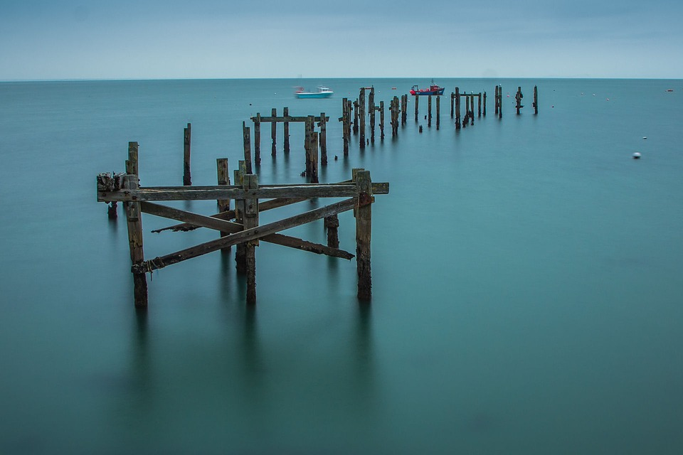 Swanage, Old Pier, Ocean, England, Wooden, Pier, Old
