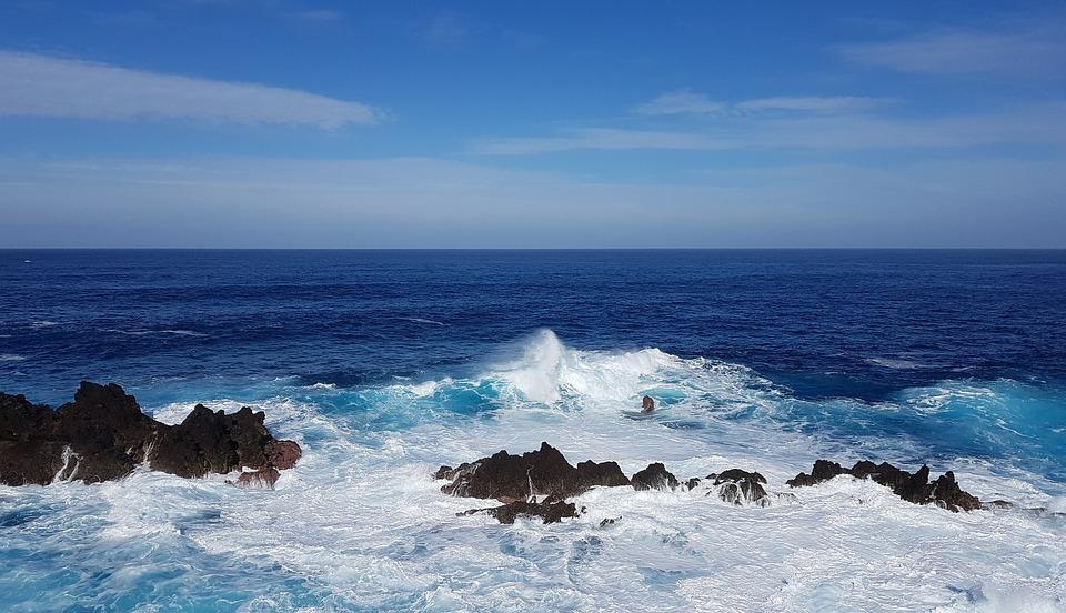 Madeira, Atlantic, Water, Wave, Rau, Blue, Ocean, Rock