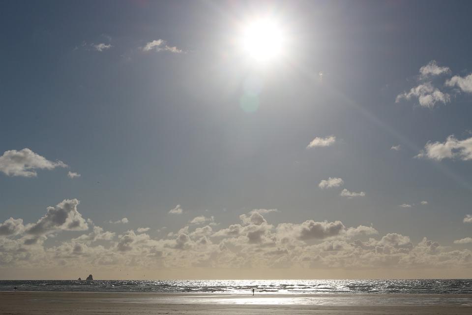 Sun Set, Beach, Ocean, Clouds, Reflection, Sunset, Sea
