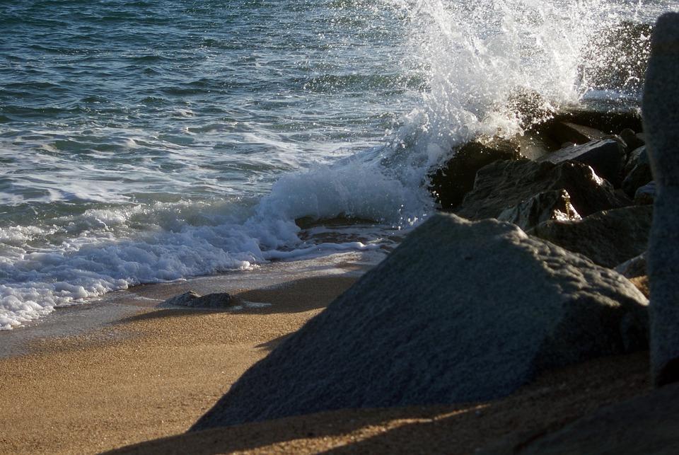 Ocean, Waves, Rocks, Sea, Water, Blue, White, Beach
