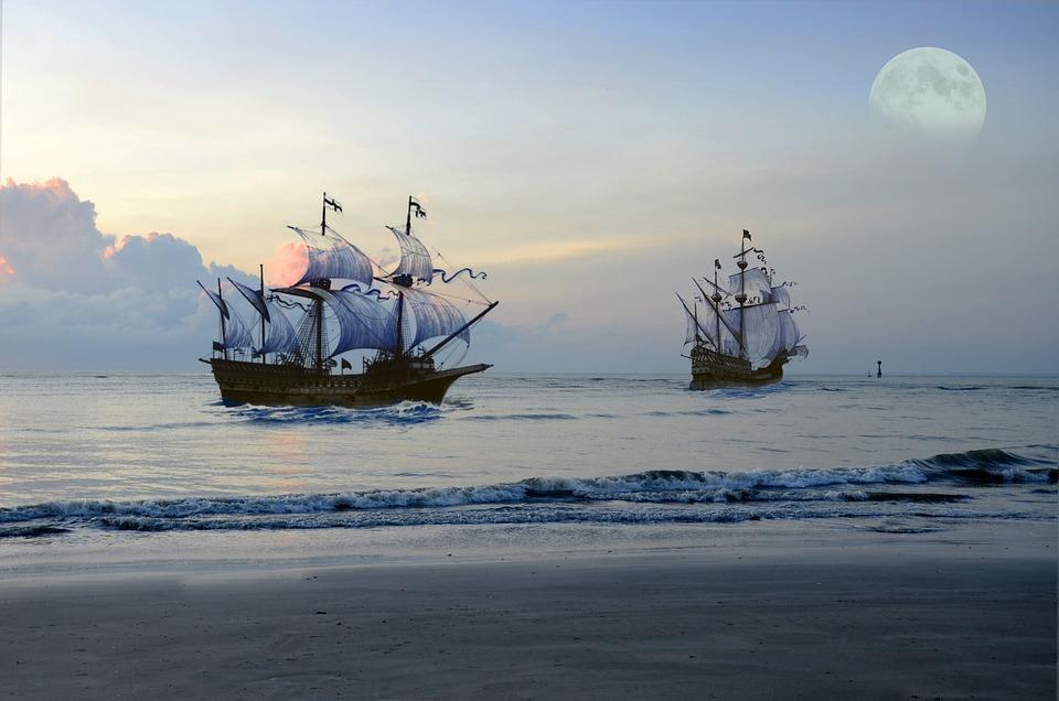 Pirate Ship, Sea, Moon, Fantasy, Ocean, Sail, Boat