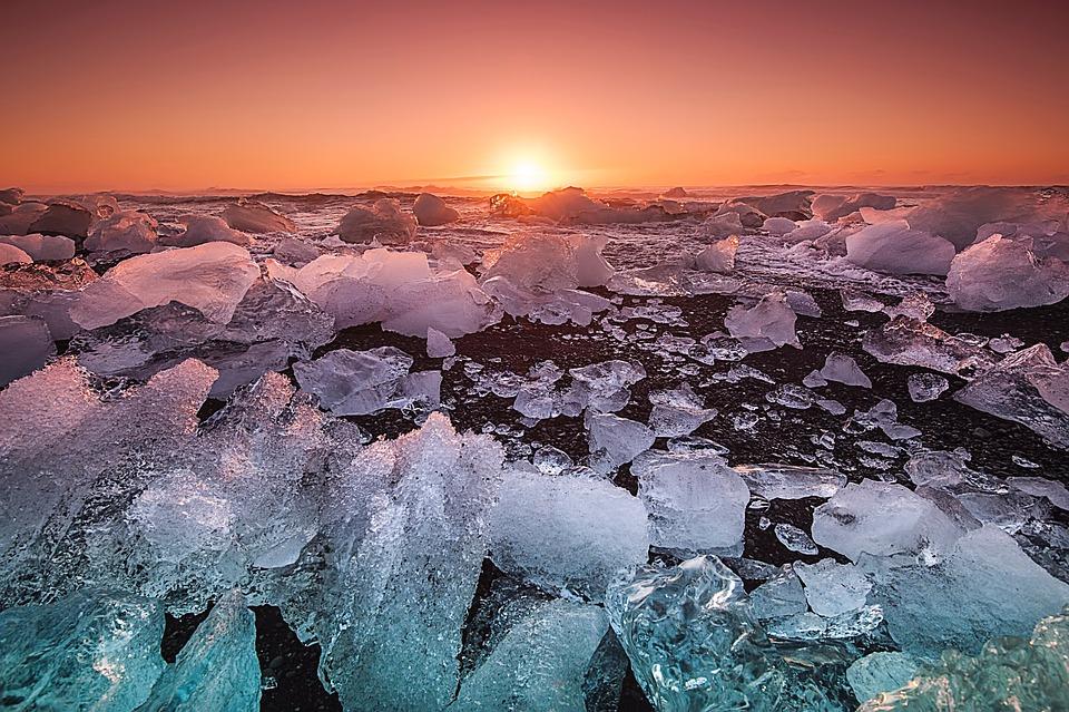 Sea, Ocean, Coast, Shore, Nature, Ice, Iceberg, Sunset