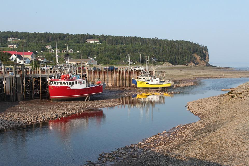 Low Tide, Sea, Ship, Fishing Boat, Ocean, New-brunswick