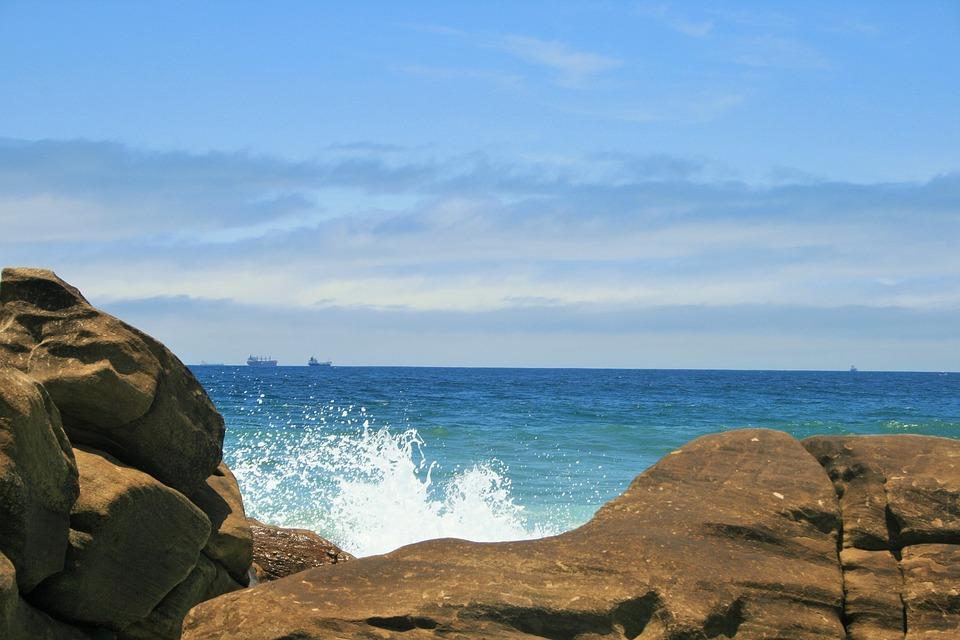 Sea, Ocean, Blue, Rocks, Spray, White