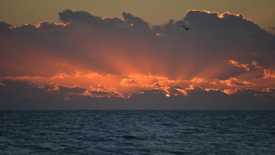 Sun, Water, Ocean, Sunrise, Clouds