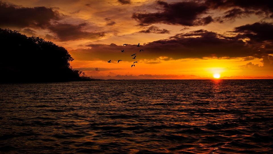 Sunset, Ocean, Coast, Sea, Coastline, Sun, Clouds, Sky