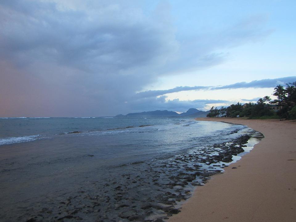 Hawaii, Sunrise, Kapa'a, Kauai, Ocean, Sea, Beach
