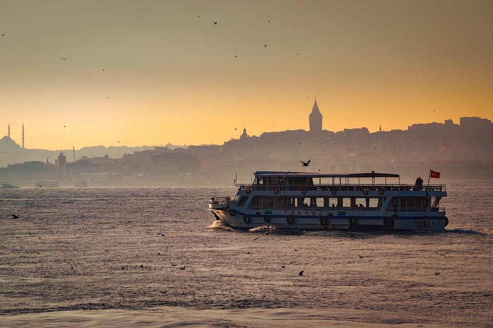Ship, Ocean, Waves, Sunset, Sunrise, Galata Tower