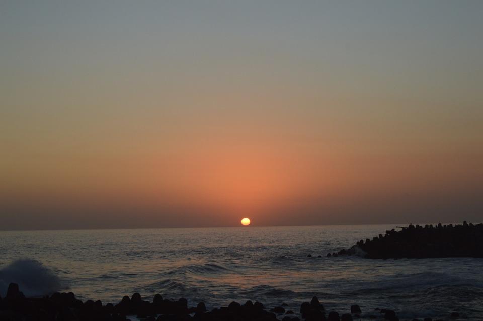 Sunset, Beach, Sun, Ocean, Sky, Clouds, Sunrise