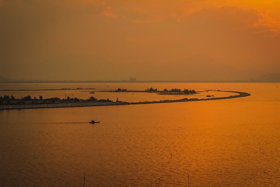 Sea, Sunset, Ocean, Boat, Island, Orange Sky, Dusk