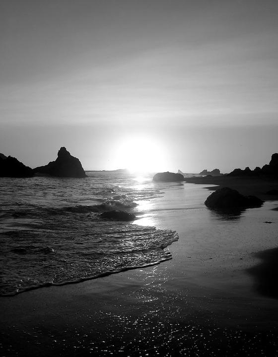 Beach, Ocean, Sunset, Black And White, Oregon, Serene