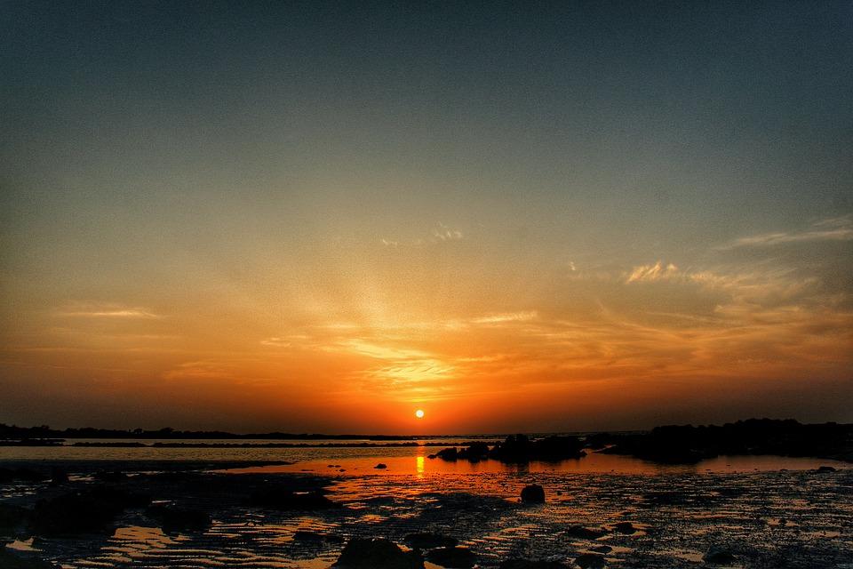 Sunset, Sea, Sun, Evening, Beach, Ocean, Water, Sky