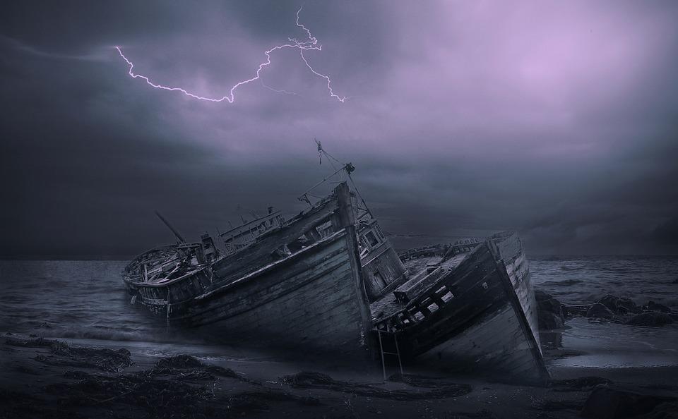 Shipwreck, Ocean, Thunderstorm, Sea, Coast, Night