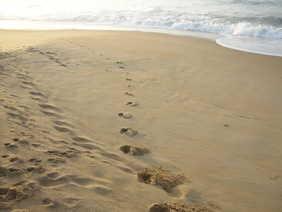Footprints, Beach, Sand, Ocean, Coast, Tracks, Walk