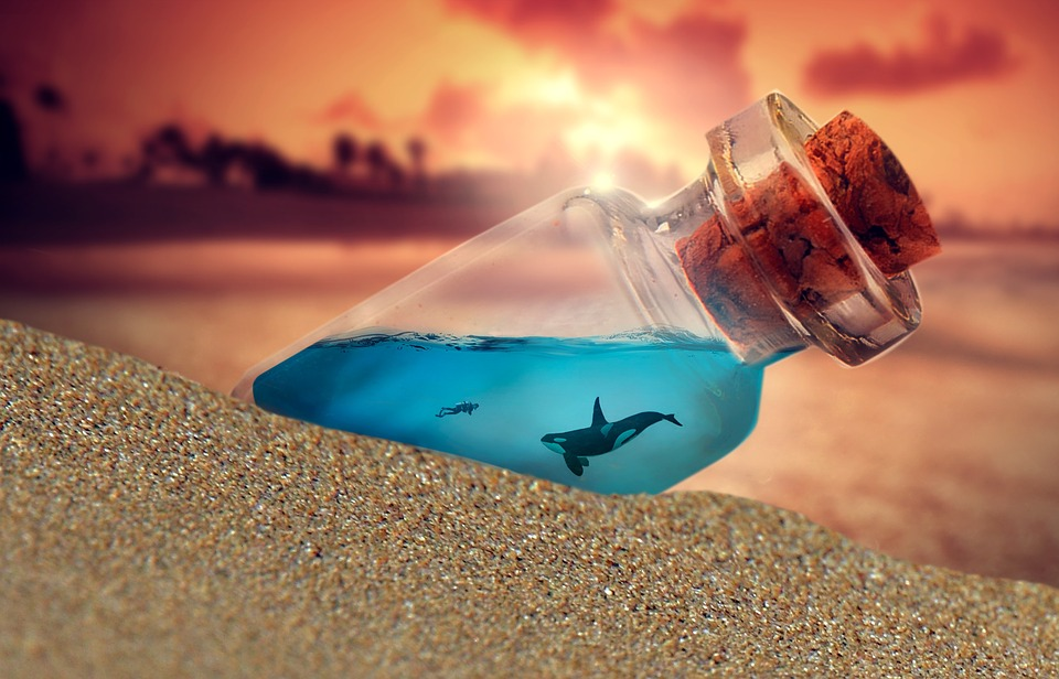 Bottle, Beach, Ocean, Sand, Water, Summer, Sky, Glass