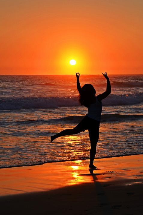 Dance, Ocean, Sea, Silhouette, Sun, Water, Waves