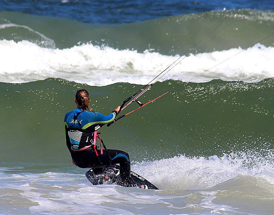 Woman, Kiting, Wave, Ocean, Sea, Beach, Water Sports