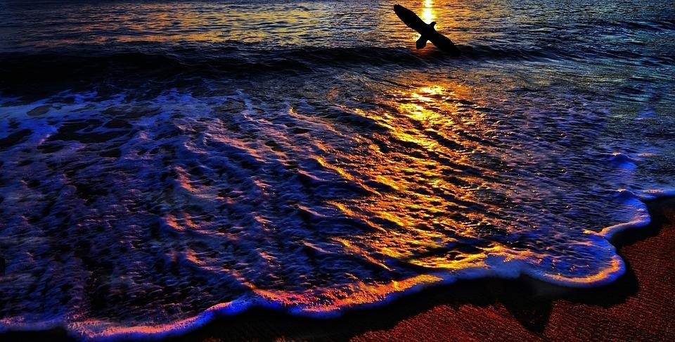 Beach, Orla, Mar, Ocean, Wave, Sand, West, Sunset